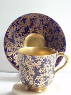 Royal Worcester Coffee Cup & Saucer Cobalt Blue Gold C2829 C.1925 in Pottery, Porcelain & Glass, Porcelain/ China, Royal Worcester | eBay