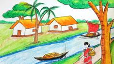 Easy Step By Step Natural Scenery Drawing Beautiful Scenery Drawing, Drawing School, Natural Scenery, Step By Step Drawing, Boat, Clouds, Make It Yourself, Drawings, Easy