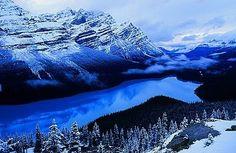 Peyto Lake, Banff National Park, Alberta. Winter