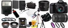 Canon - Canon EOS 60D DSLR Camera Kit with Canon EF-S 18-55mm f/3.5-5.6 IS II Lens + Canon Normal EF 50mm f/1.8 II Lens + Canon EF-S 55-250mm f/4-5.6 IS Lens 16GB Package