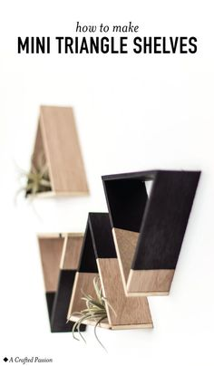 DIY these mini triangle shelves with wood to display decor on your wall. They are super easy to make and look too cute! : DIY these mini triangle shelves with wood to display decor on your wall. They are super easy to make and look too cute! Diy Wall Art, Diy Wall Decor, Diy Home Decor, Diy Wand, Easy Woodworking Projects, Diy Pallet Projects, Pallet Ideas For Walls, Woodworking Tools, Mur Diy