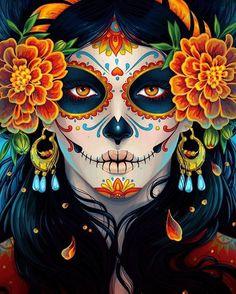 "La Catrina illustration by Maria Dimova from ""How to Create a Vibrant Day of the Dead Portrait in Adobe Illustrator"" on envatotuts+ La Muerte Tattoo, Catrina Tattoo, Maquillaje Sugar Skull, Los Muertos Tattoo, Candy Skulls, Sugar Skulls, Candy Skull Makeup, Skeleton Makeup, Sugar Skull Halloween Makeup"