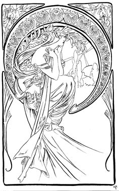 Dessin Vrouw Alfons Mucha: Tekening-Kleurplaat-Patroon-Prent *Drawing-Colouring Picture-Pattern ~The Arts: 'Poetry'(1898)~