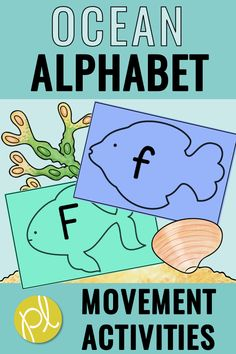 "Movement Games for Learning - Do your students need more movement? Mine certainly do! I created these ocean alphabet cards for my students to ""swim"" to, LOL! They are the perfect size to use on the floor. We even use them for indoor recess! These alphabet cards are part of my Alphabet Intervention bundle! #alphabet #movementgames"