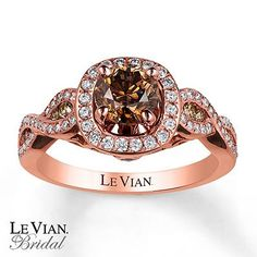 Le Vian Engagement Ring 1 3/8 cttw Diamonds 14K Strawberry Gold