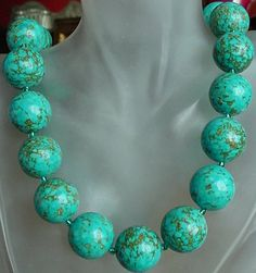 Turquoise Necklace c/w Czech Glass Spacers  23lg 58cm  by camexinc, $45.00