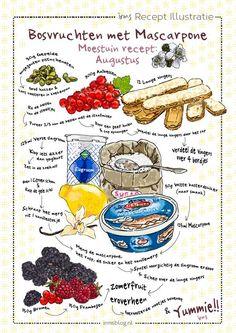 Bosvruchten met mascarpone een zomerse tiramisu van irms. Een makkelijk dessert met bramen, frambozen en aalbessen uit de moestuin. Irms maakt recepten eenvoudig met haar illustraties, het ziet er mooi uit en het is bovendien heel lekker. Koken zonder pakjes en zakjes! Laat ook jouw favoriete recept illustreren tot een unieke poster of ansichtkaart. #recipe #recept #food #illustration #illustratie #moestuin #infographic Cycling Motivation, Motivation Wall, Fitness Motivation, Menu Design, Food Design, Cartoon Recipe, Nutrition Guide, Nutrition Plans, Bike Workouts