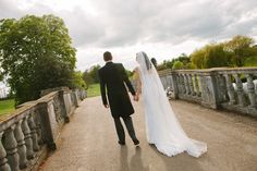 Newlywed couple on the Payne Bridge, Brocket Hall