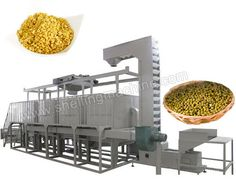TFD600 mung bean peeling line mainly consists of feeding hopper, elevator, top-mounted trolley, grinder (4 sets), vibrating screen (2 sets), bran removing sieve, beans separating sieve, loading hopper, electric control cabinet.  * Capacity: 600kg/h * Power: 34.1kw * Weight: 14mts * Dimensions: 11m * 2.1m * 3.2m