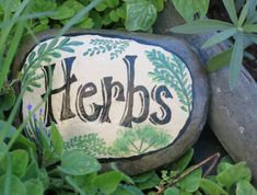 Painted Garden rock Herb marker Stone Vegetable by MyPaintedSwan