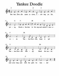 Free Sheet Music for Yankee Doodle. Children's Song. Enjoy!