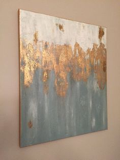 painting media room painting media console COASTAL 18 x 24 by AbstractsAnonymous on Etsy Diy Wall Art, Diy Art, Art Conceptual, Gold Leaf Art, Gold Art, Abstract Wall Art, Acrylic Art, Custom Art, Painting Inspiration