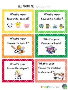 This resource includes several cards with the most common personal information questions. Use them as part of your Back to School activities. English Activities For Kids, Learning English For Kids, English Worksheets For Kids, English Lessons For Kids, Kids English, Teaching English, Learn English, Learning Italian, French Lessons