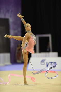 Melitina Staniouta, Belarus, World Championships 2014 One of my favorite leotards and ribbons
