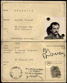 La carte d'identité de Georges Brassens Paris 14, Star Francaise, Photo Star, French Songs, Total Recall, Everything And Nothing, Music Film, Stylish Hair, Bob Dylan