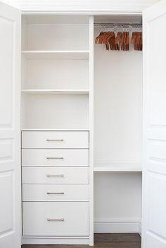 Trendy small closet organization bedroom built ins doors Ideas Bedroom Built Ins, Closet Built Ins, Tiny Closet, Build A Closet, Small Closets, Shared Closet, Small Closet Storage, Closet Shelving, Wardrobe Storage