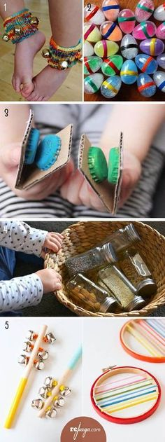 Ideas For Music Instruments Diy Kids Crafts Music Instruments Diy, Instrument Craft, Homemade Musical Instruments, Diy Crafts For Kids, Projects For Kids, Kids Diy, Infant Activities, Activities For Kids, Preschool Music