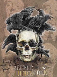 Alfred Hitchcock - by Mimi ilnitskaya Buzz Lightyear, Deviantart, Werewolves, Alfred Hitchcock, Make Art, Skull Art, Skeletons, Art Tips, Vampires