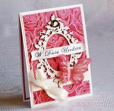Ramka ornamentowo-roślinna rozmiar L  - ozdodiona embosingiem na gorąco Polish Words, Beautiful Handmade Cards, Card Maker, Cardmaking, Stamp, Create, Scrapbooking, Stamps, Scrapbooks