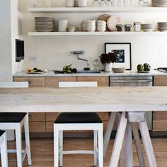 really liking the idea of a kitchen along one wall with a nice long table parallel to it.