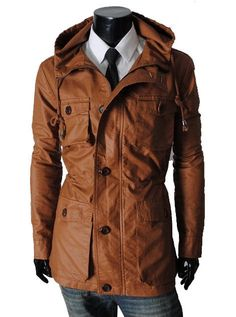 Handmade Men Brown Hooded Leather Coat, Men Classic Brown Leather Jacket Coat only: $199.99