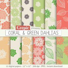 "Coral flower digital paper: ""CORAL & GREEN DAHLIAS"" clip art coral floral patterns nature dahlias paper leaves  dahlia flowers backgrounds #clipart #scrapbooking"