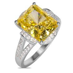 .56cttw White Cubic Zirconia with Yellow Cubic Zirconia Center in Sterling Silver Ring - Jewelry Deals 80% OFF + $25 OFF extra discount on purchases $500 & UP ! Enter PINPROMOT coupon at CHECKOUT to get $25 OFF when you place your order @ NissoniJwelry.com