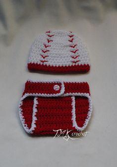 Crochet Baseball Hat and Diaper Cover PDF Pattern.