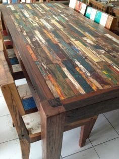 Amusing Recycled Dining Tables Reclaimed Wood Amp Steel Dining Table With Bench… Would be interesting to carve out section and but keep the edge higher and resin the whole thing?/