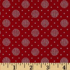 Pearle Silver Opalescent Big Dot Red from @fabricdotcom  Designed by Studioe Fabrics, this cotton print fabric is perfect for quilting, apparel and home decor accents. Features silver metallic accents throughout.