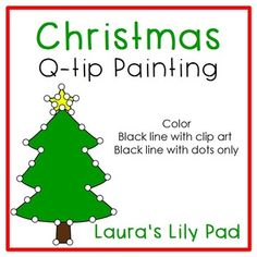 This Christmas Q-tip or cotton swab painting set is great for working on fine motor skills with your preschool or kindergarten students in a fun way.  The set includes 13 color pages, 13 black line pages with clip art, and 13 black line pages with dots only.