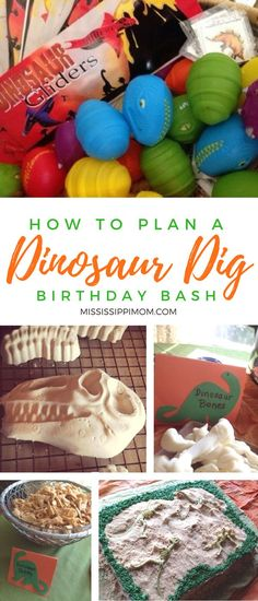 How to plan the perfect dinosaur dig birthday party!  From the perfect excavation cake to dinosaur bone molds and great favor ideas, your little dinosaur lovers will absolutely love these party ideas! Dinosaur Birthday Party, 4th Birthday Parties, Boy Birthday, Birthday Ideas, Dinasour Birthday, Third Birthday, Birthday Favors, Unicorn Birthday, Dinosaur Dig