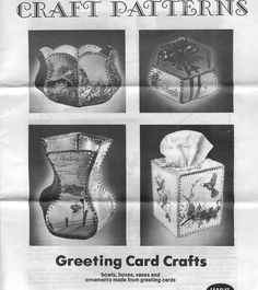 crochet greeting card boxes with templates, great for using up old cards, tehy can also be made out of plastic bottles or card stock Back The Day It Was Frugal - Today It's Going Green - MISCELLANEOUS TOPICS