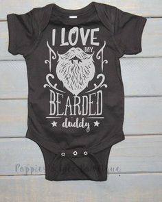 Bearded Daddy Bodysuit, Funny Baby Clothing, Unisex Kids' Shirt, Baby Shower Gift, Father's Day Gift https://presentbaby.com