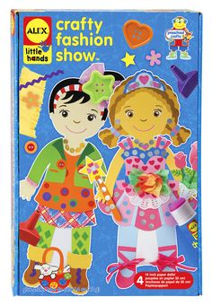 """Get ready for the runway with these giant, 14"""" tall fashion show dolls.  Decorate your dolls any way you choose, the fashion flair is up to you.  Peel, stick and glue clothes and accessories onto each doll!   Includes 4 dolls, lots of pre-cut clothes and paper shapes, finger crayons, buttons, pipe cleaners, doilies, stickers, chunky glue stick and easy instructions.  #alextoys"""