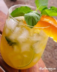 Zesty Orange Mojito    (1/2 orange cut into wedges  1/2 lime cut into wedges  2 teaspoons sugar  8 leaves fresh mint  2.5 ounces white rum)