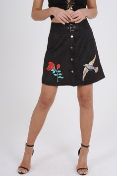 Black Faux Suede Embroidered Button Up Mini Skirt - Marlia