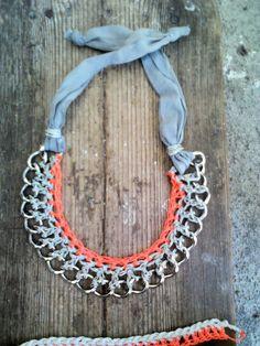 Orange neon crocheted metal chain collar necklace by bizeli