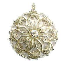 Silver filigree pendant  , silver 0.925, made by hand . Srebrny filigranowy wisiorek z kamieniem w środku, Srebro 0,925 Wykonany ręcznie