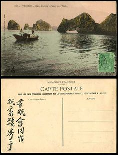 Indo-China 1906 Old Hand Tinted Postcard Tonkin, Baie d'Along, Passe de l'Arche