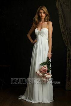 flowy? A-line Empire Strapless Sweetheart Chiffon Beach Wedding Dresses at IZIDRESSES.com