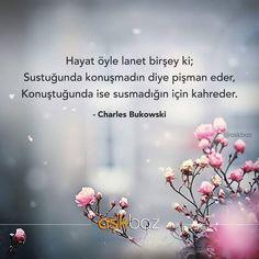 Hayat öyle lanet birşey ki;  Sustuğunda konuşmadın diye pişman eder,  Konuştuğunda ise susmadığın için kahreder.   - Charles Bukowski  (Kaynak: Instagram - askbaz)  #sözler #anlamlısözler #güzelsözler #manalısözler #özlüsözler #alıntı #alıntılar #alıntıdır #alıntısözler #şiir #edebiyat