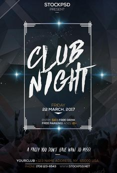 1290 best Free Flyer Templates images on Pinterest   Beach club     Club Night Party Free Flyer PSD Template   http   freepsdflyer com