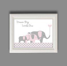 Elephant Nursery Art  Elephant Nursery Decor  Pink by RolyPolyArt, $10.00