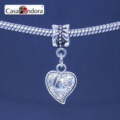 CasaPandora 925 Plated Heart Shape With Chinese Characters Pendant Fit Bracelet Charm DIY Bead Jewelry Making Pingente Berloque