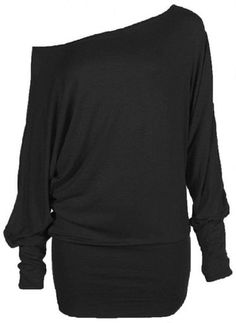 Zj Clothes Womens Long Sleeve Off Shoulder Plain Batwing Top at Amazon Women's Clothing store: