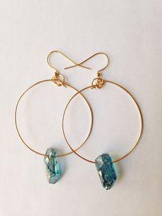 Punto pendientes de cristal de cuarzo por azadouhijewelry en Etsy, $28.00