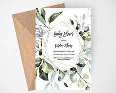 Greenery Baby Shower Invitation Printable, Eucalyptus Baby Shower Invitation, Editable Baby Shower I Printable Baby Shower Invitations, Rustic Invitations, Digital Invitations, Baby Shower Printables, Party Invitations, Invites, The Menu, Garden Baby Showers, Boho Baby Shower