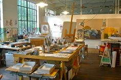 """Anna Schuleit's studio, """"The different parts of the studio help me to keep moving, like stations along a road."""" (Photo by Michelle Aldredge)"""