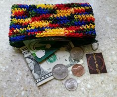 Coin Purse Pouch Bag crochet rainbow multicolor red blue green yellow with zipper FREE SHIPPING USA by DesignsbyMissJP on Etsy
